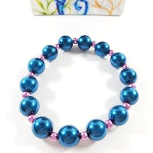 💥New💥Blue & Lavender Czech Glass Pearl Bracelet